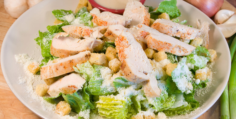 A Chicken Salad with Parmesan Cheese.