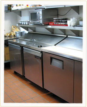 Our kitchen, where we prepare some of the best pizza in the world, and where your franchise can be making Ameci's pizza.